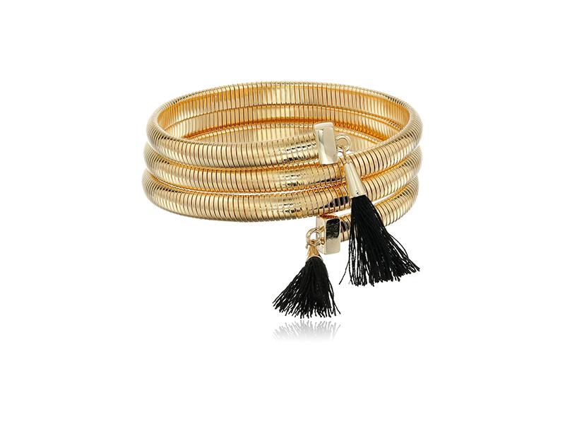 Vince Camuto Tassel Coil Gold Black Bracelet
