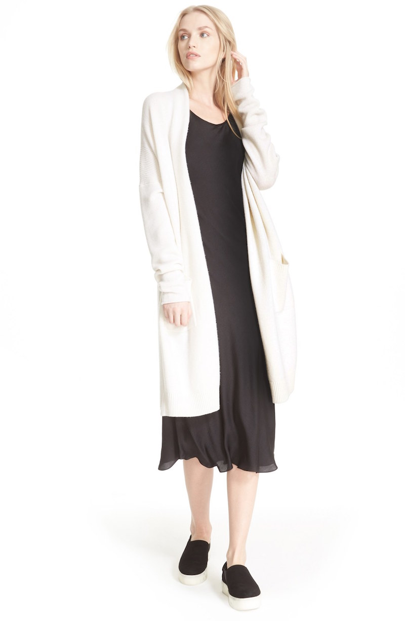 Vince Side Slit Wool & Cashmere Cardigan