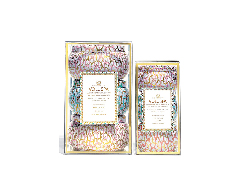 Voluspa Maison Blanc Two-Wick Tin Candle Trio