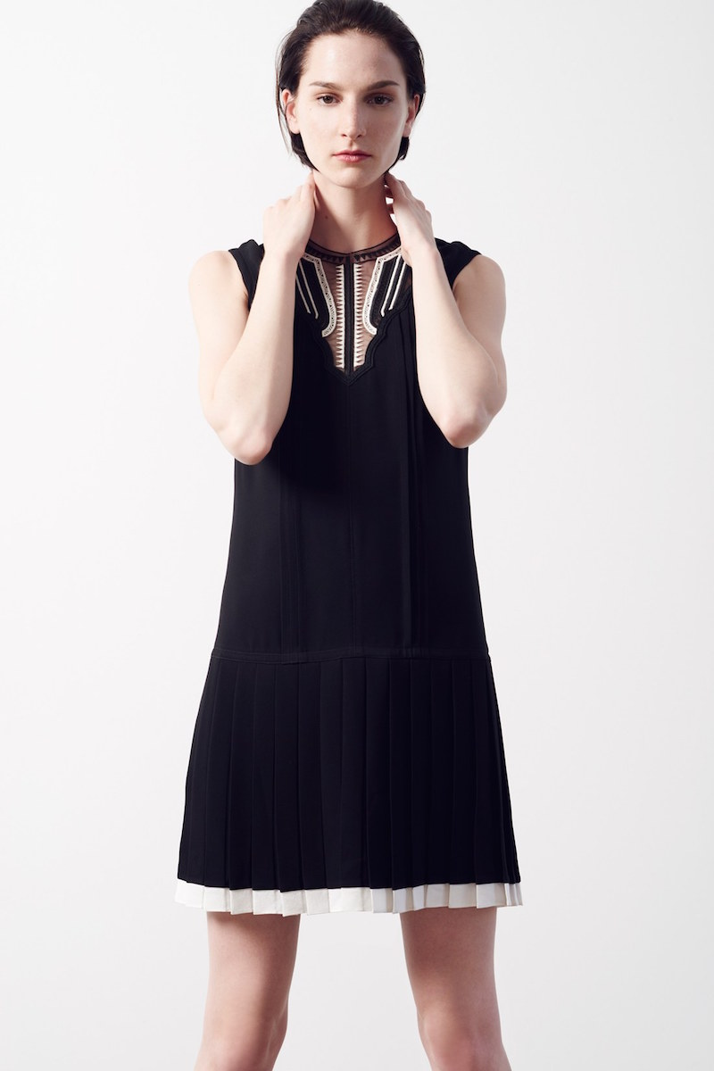 Yigal Azrouël Pleated Crepe Drop Waist Dress