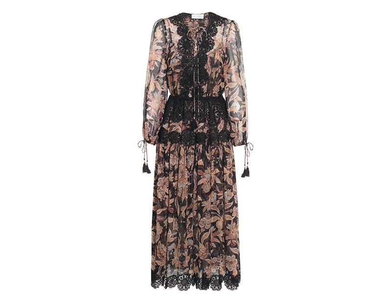 Zimmermann Alchemy Lace-paneled Printed Silk-georgette Dress