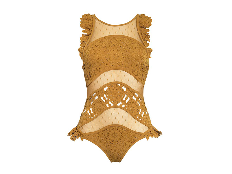 Zimmermann Plume Ruffled Broderie Anglaise and Point d'esprit Swimsuit