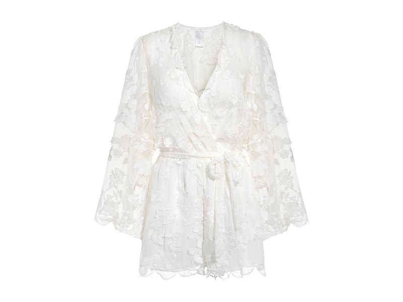 Zimmermann Wrap-effect Fil Coupé Silk Playsuit