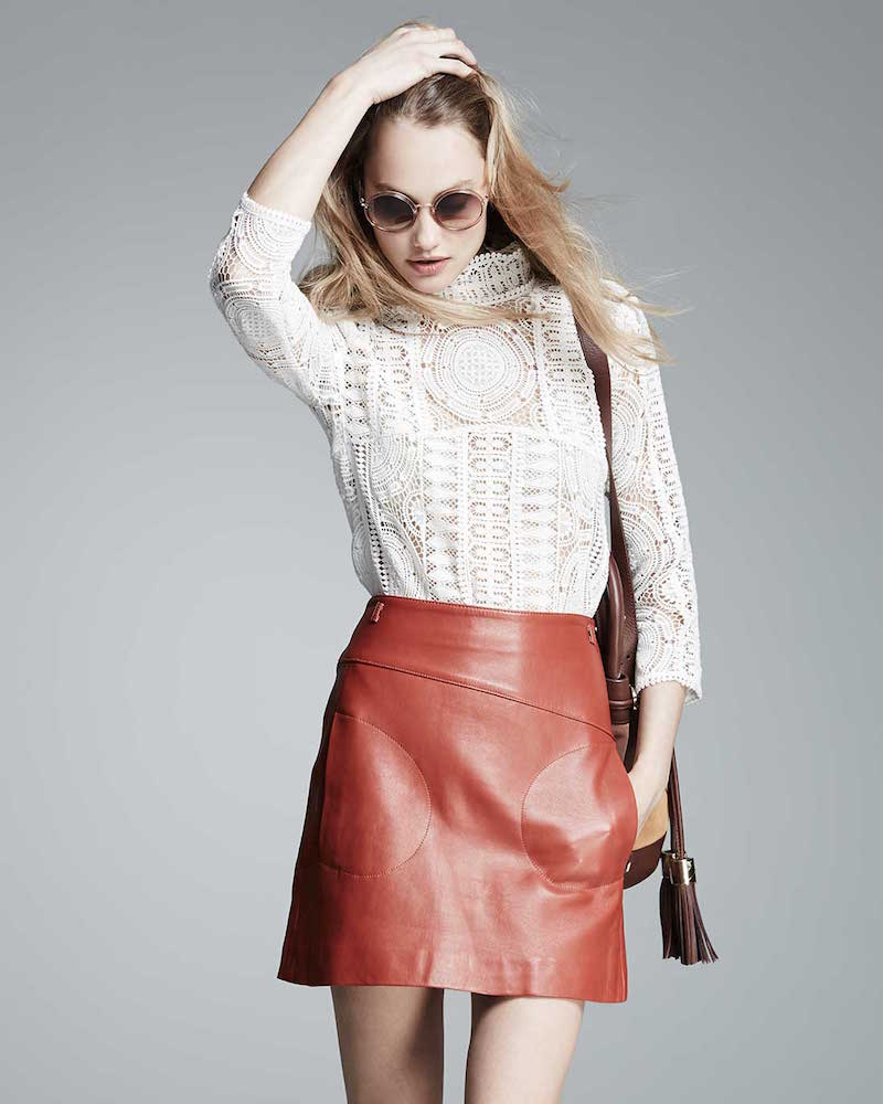 ba&sh Messy Leather A-Line Skirt