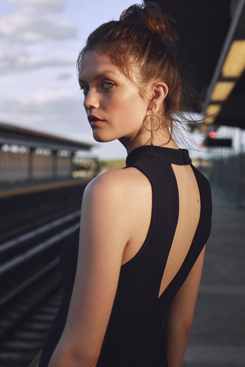 ASTR Mock Neck Body-Con Dress