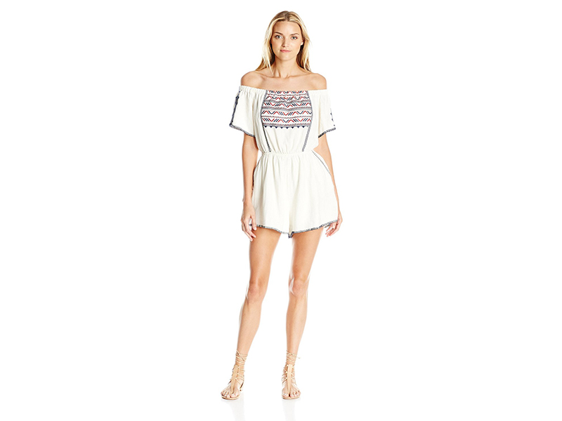 ASTR Oye Como Tribal Print Off Shoulder Romper