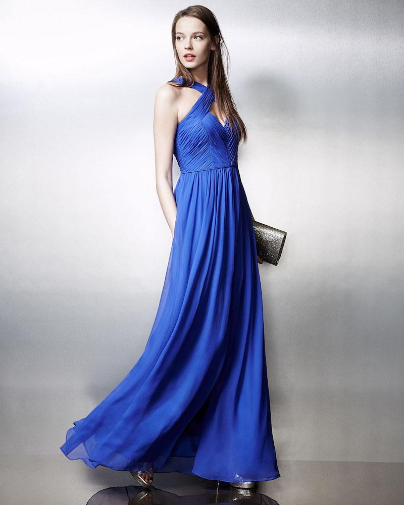 Aidan Mattox Ruched Silk Chiffon Keyhole Gown