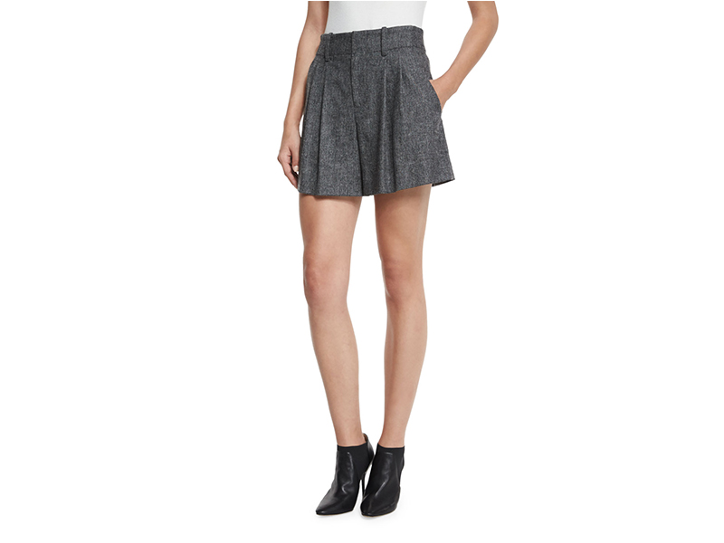 Alice + Olivia Eloise High-Waist Double-Pleated Shorts