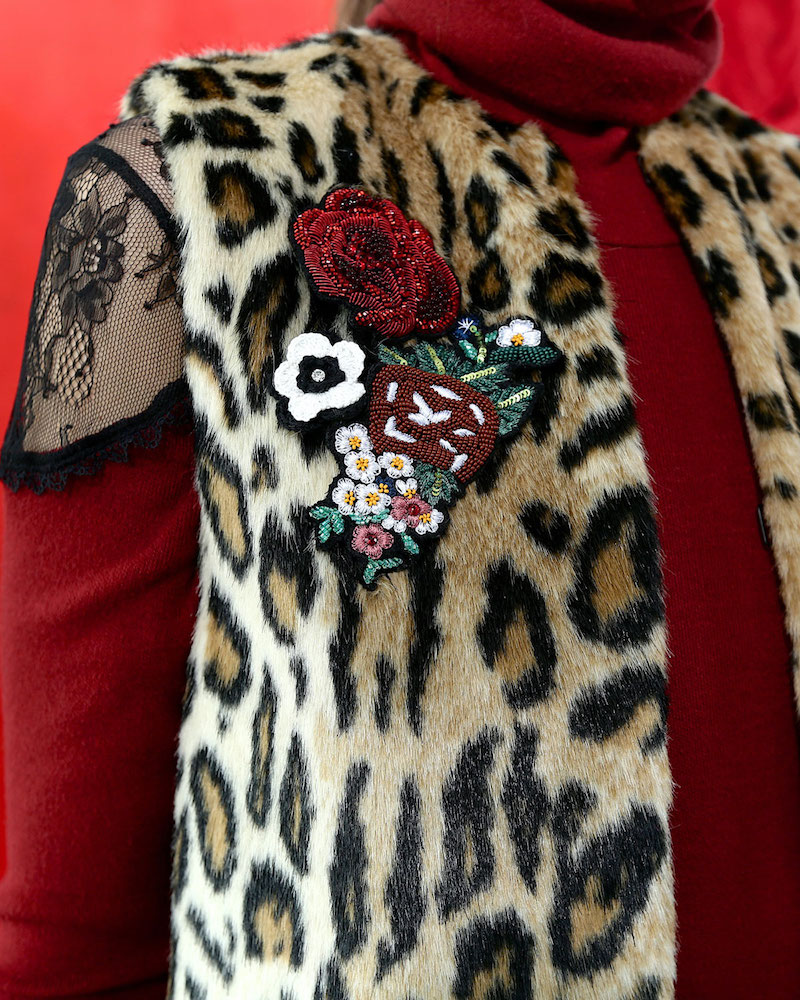 Alice + Olivia Jade Leopard-Print Faux-Fur Vest with Floral Pins