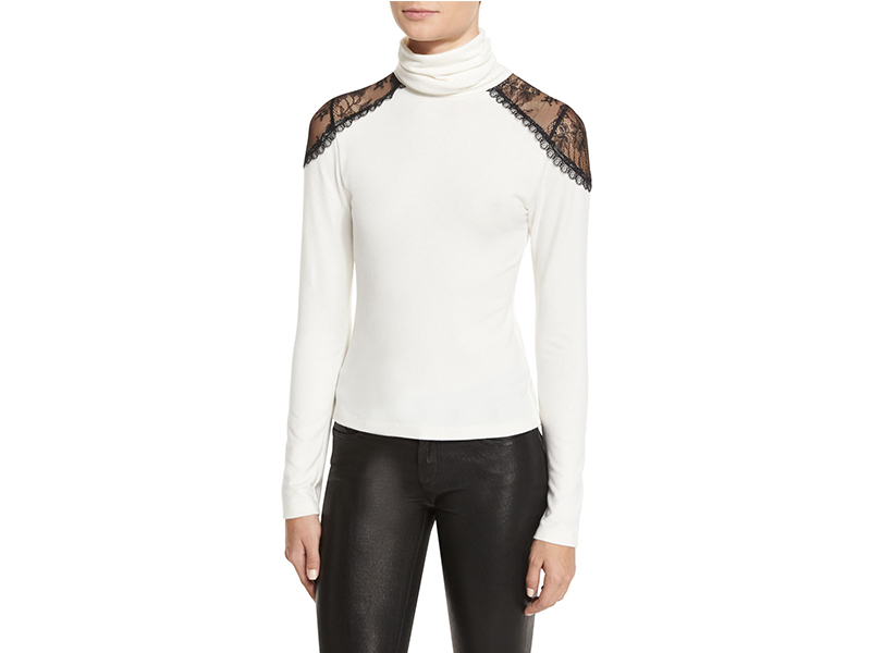 Alice + Olivia Krystalle Lace-Shoulder Turtleneck