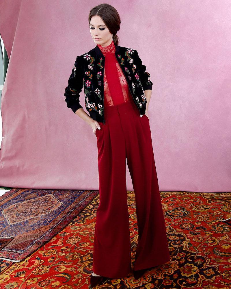 Alice + Olivia Lonnie Embellished Bomber Jacket