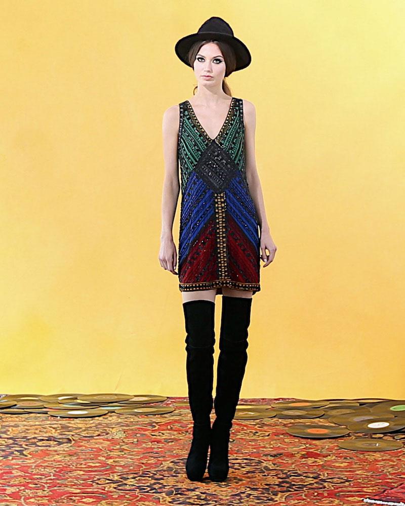 Alice + Olivia Nadia Embellished V-Neck Shift Dress
