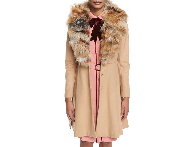 Alice + Olivia Nikita Belted Fox-Collar Dress Coat