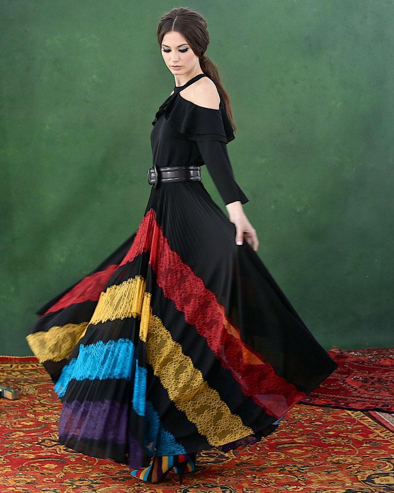 Alice + Olivia Romona Lace-Panel Plisse Maxi Skirt