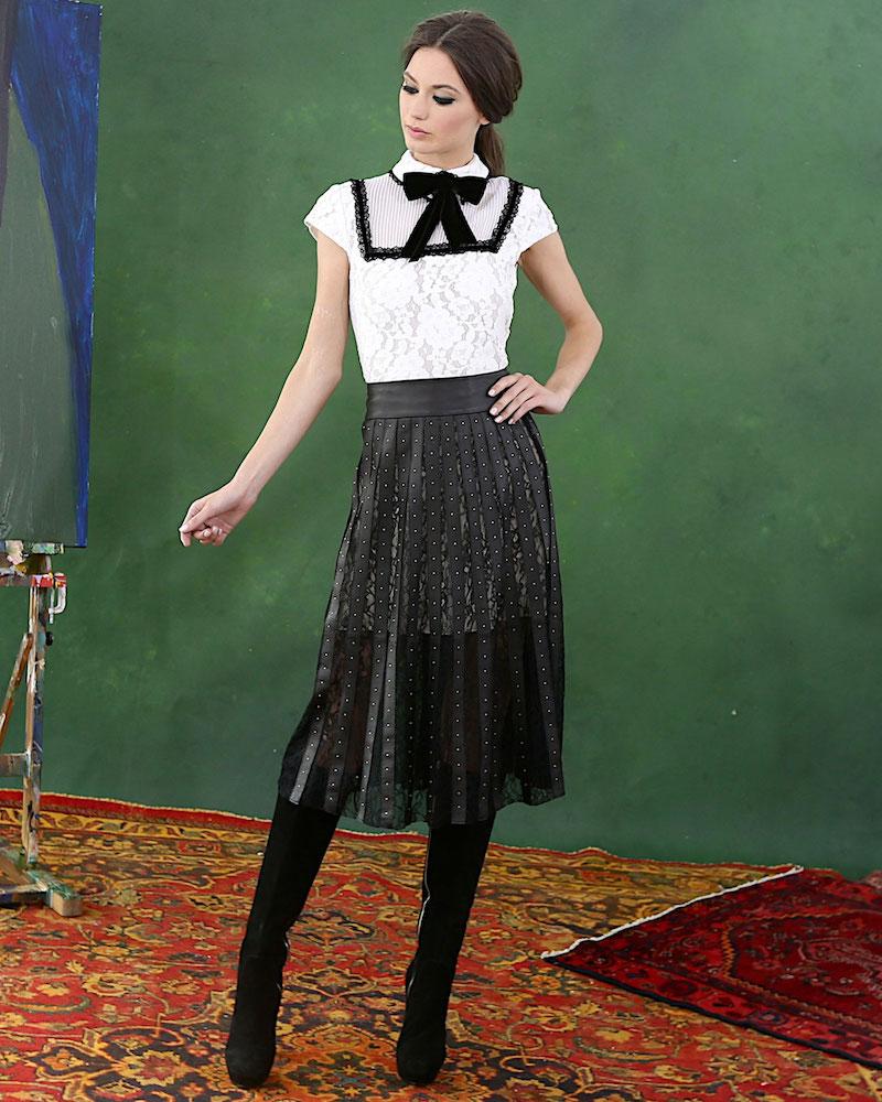 Alice + Olivia Vanetta Pintuck-Yoke Lace Shirt