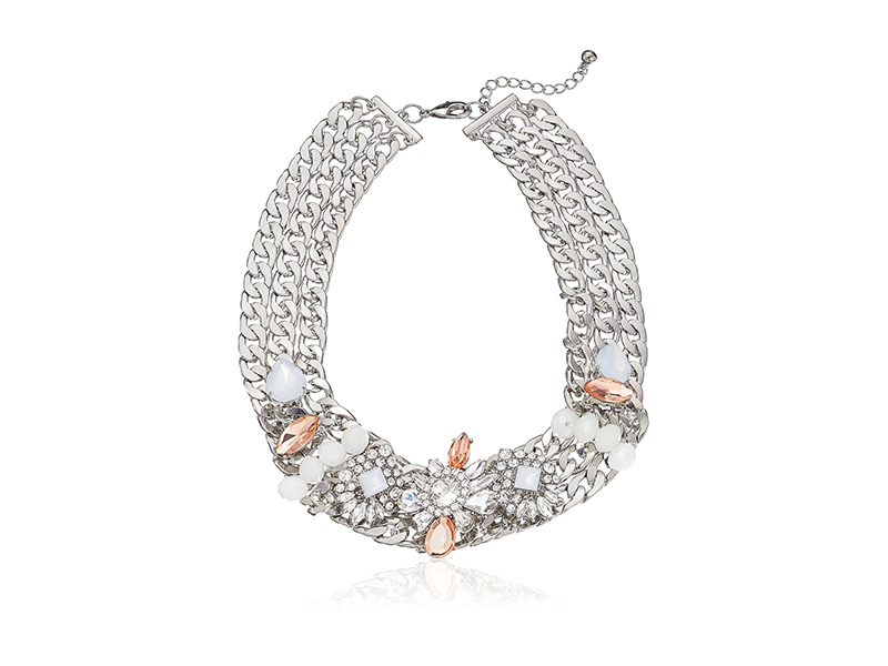 Amazon Collection Layered Silver-Tone Chain Link Crystal and Stone Accented Statement Necklace