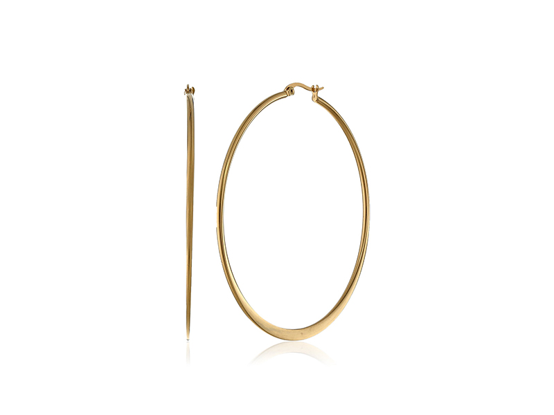 Amazon Collection Yellow Gold-Plated Stainless Steel Flattened Hoop Earrings