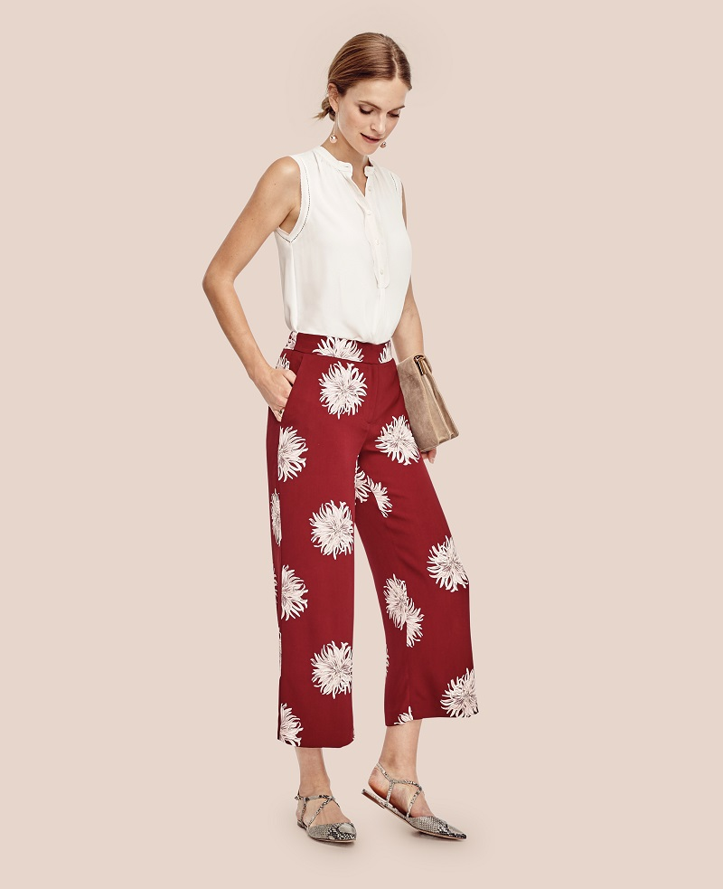 Ann Taylor Chrysanthemum Fluid Ankle Pants