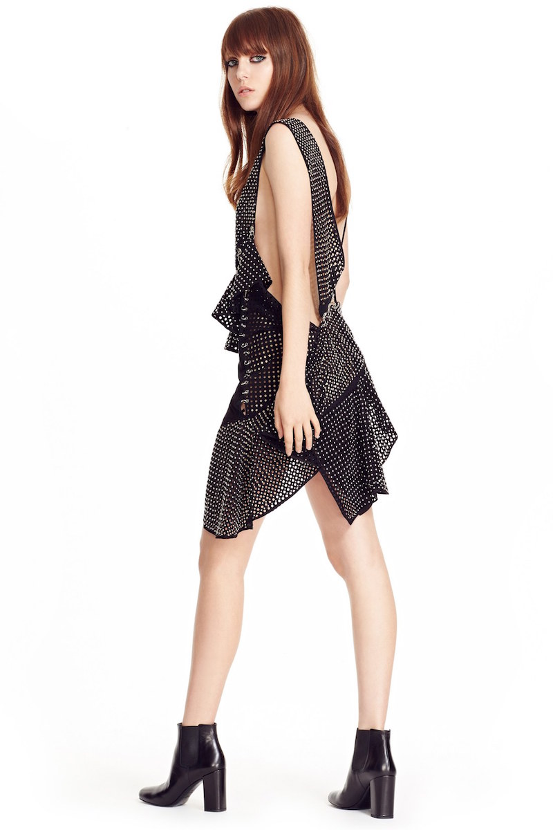 Anthony Vaccarello Studded & Perforated Asymmetrical Minidress