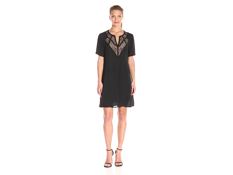 BCBGMax Azria Eos Woven Dress with Lace Yoke