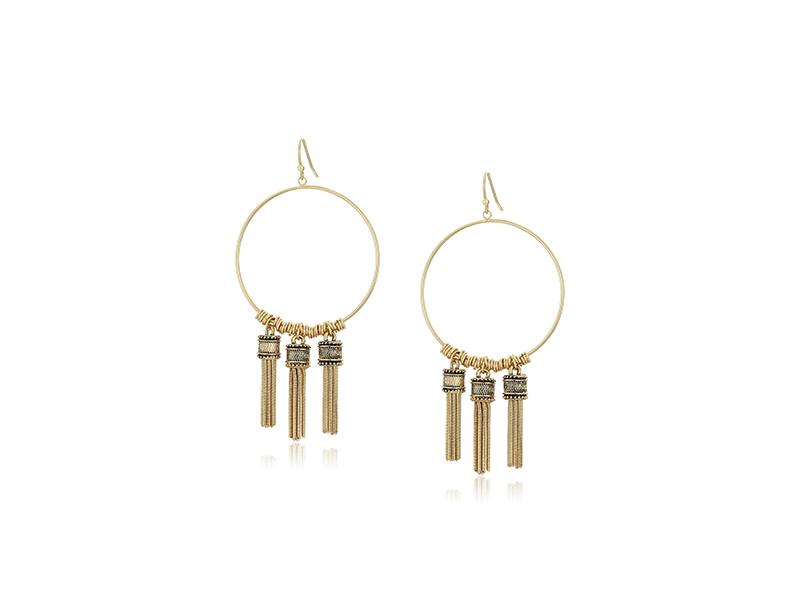 BCBGeneration Fringe Frontal Hoop Earrings