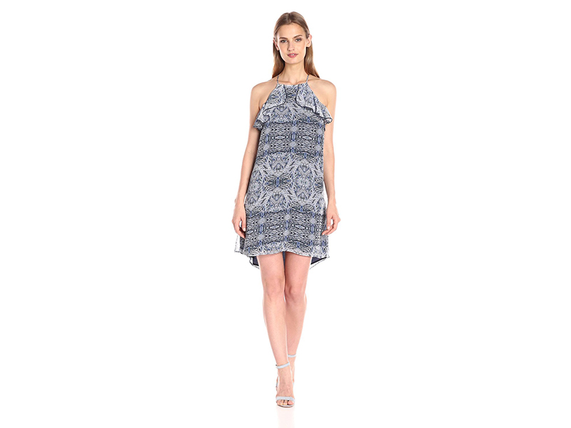 BCBGeneration Printed Halter Dress with Ruffle