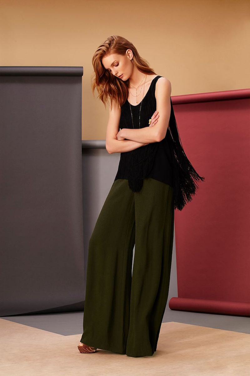 Barbara Bui Silk Fringe Tank in Black