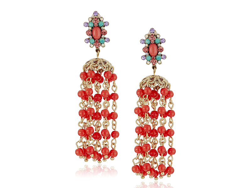 Betsey Johnson Betsey's Delicates Coral Bead Chandelier Clip-On Earrings
