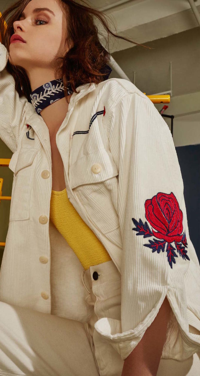 Bliss and Mischief Rodeo Embroidered Corduroy Jacket