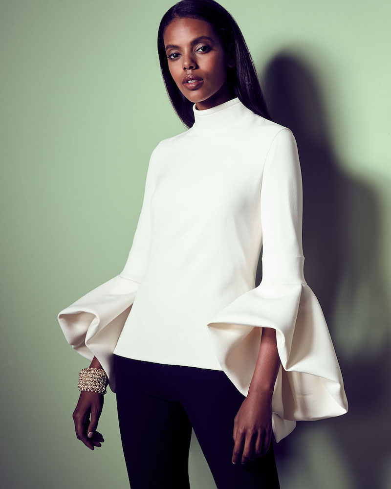 Brandon Maxwell Bell-Sleeve Turtleneck Peplum-Back Top