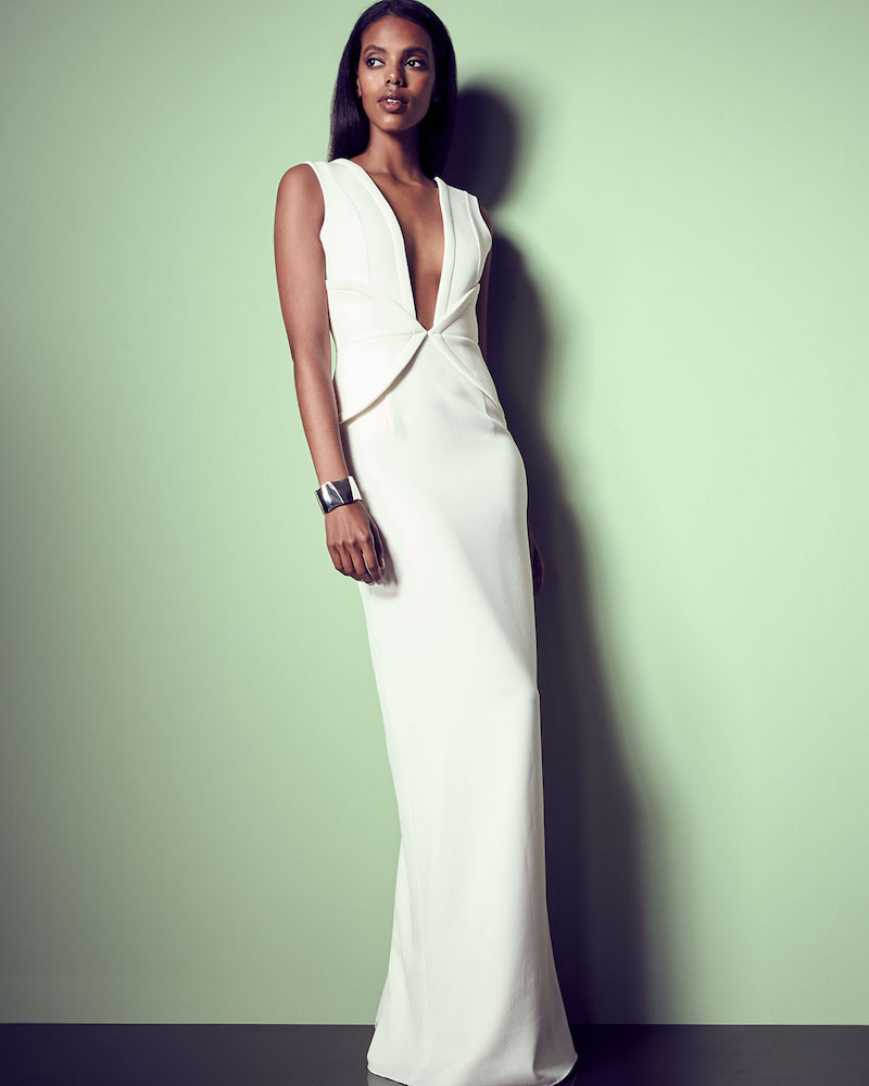 Brandon Maxwell Sleeveless V-Neck Corset Gown