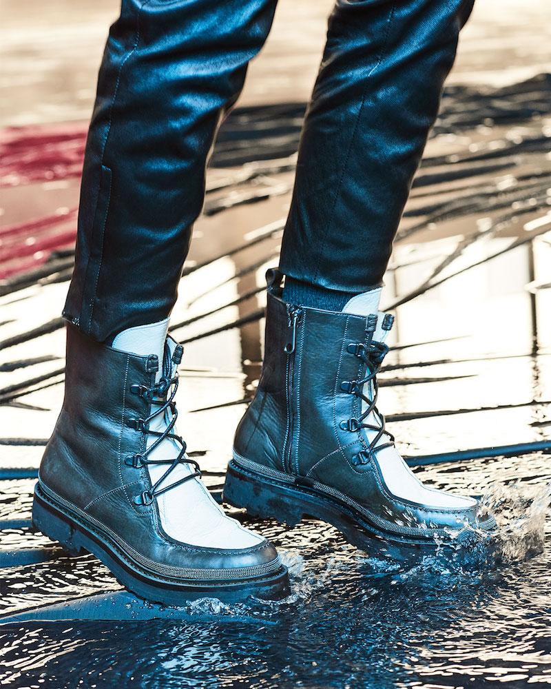 Brunello Cucinelli Monili-Trim Leather Hiker Boot