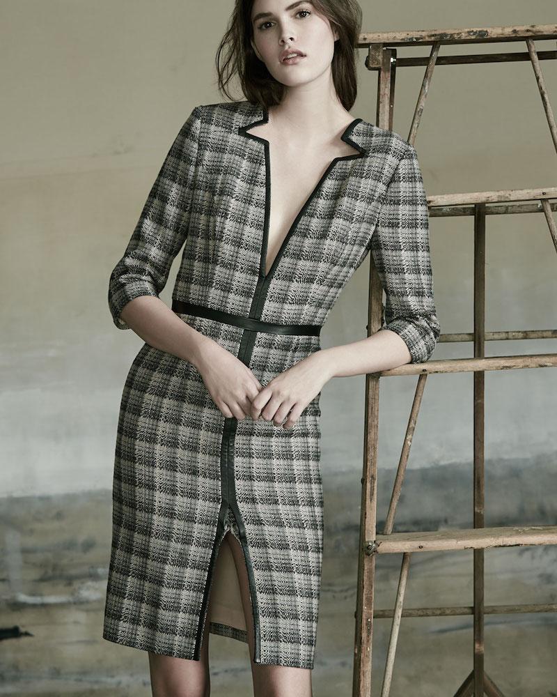 Carolina Herrera Leather-Trim V-Neck Plaid Dress