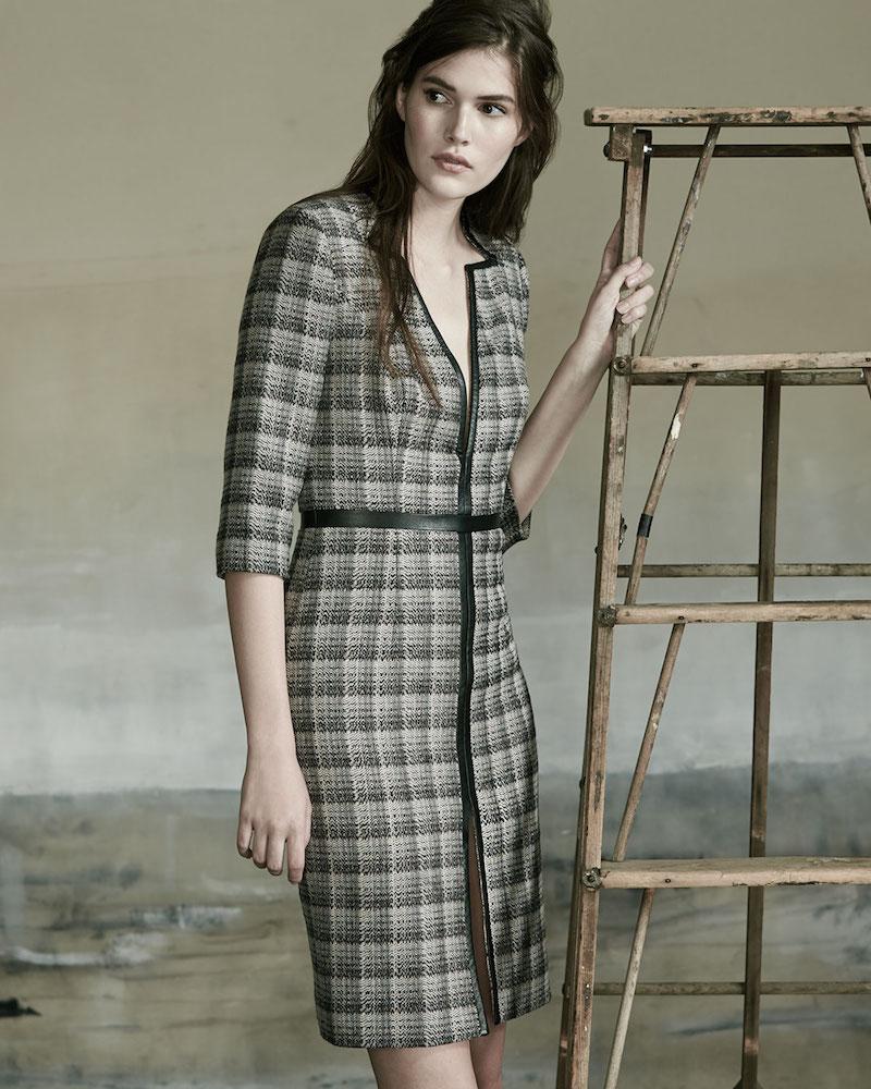 Carolina Herrera Leather-Trim V-Neck Plaid Dress_1