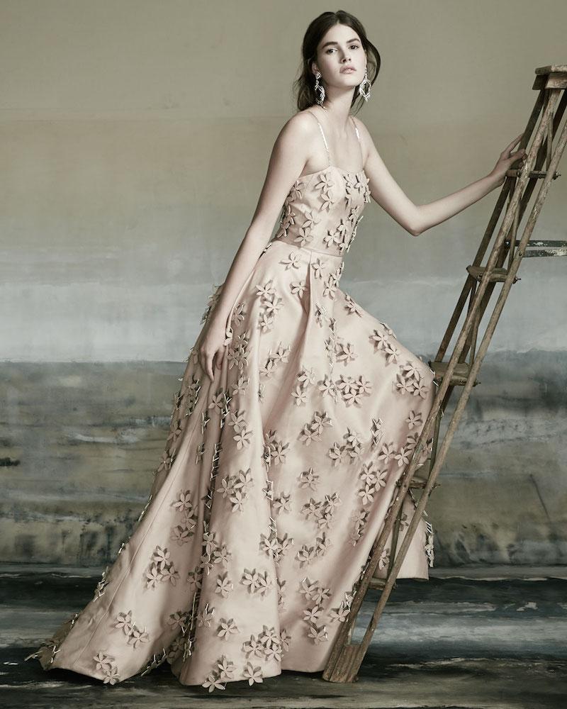 Carolina Herrera Sleeveless 3D Floral-Embellished Gown