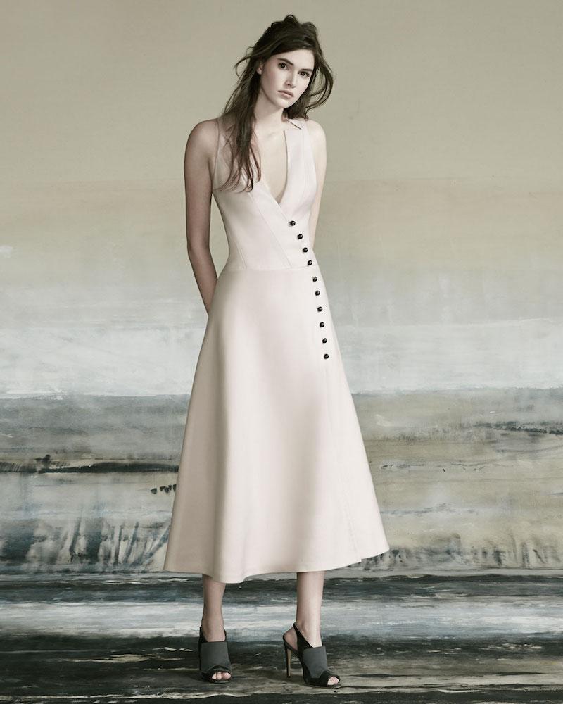 Carolina Herrera Sleeveless Wrap A-line Midi Dress