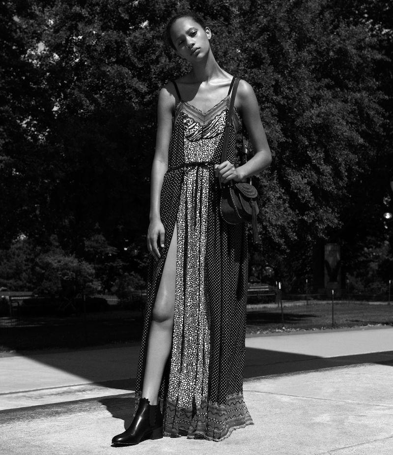 Chloé Mixed-Media Maxi Dress
