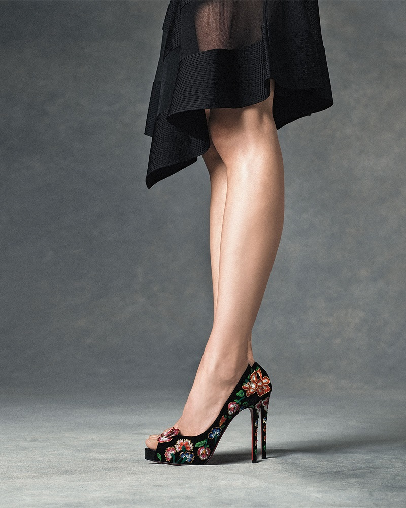 Christian Louboutin Folklo Embroidered Velvet Red Sole Pump