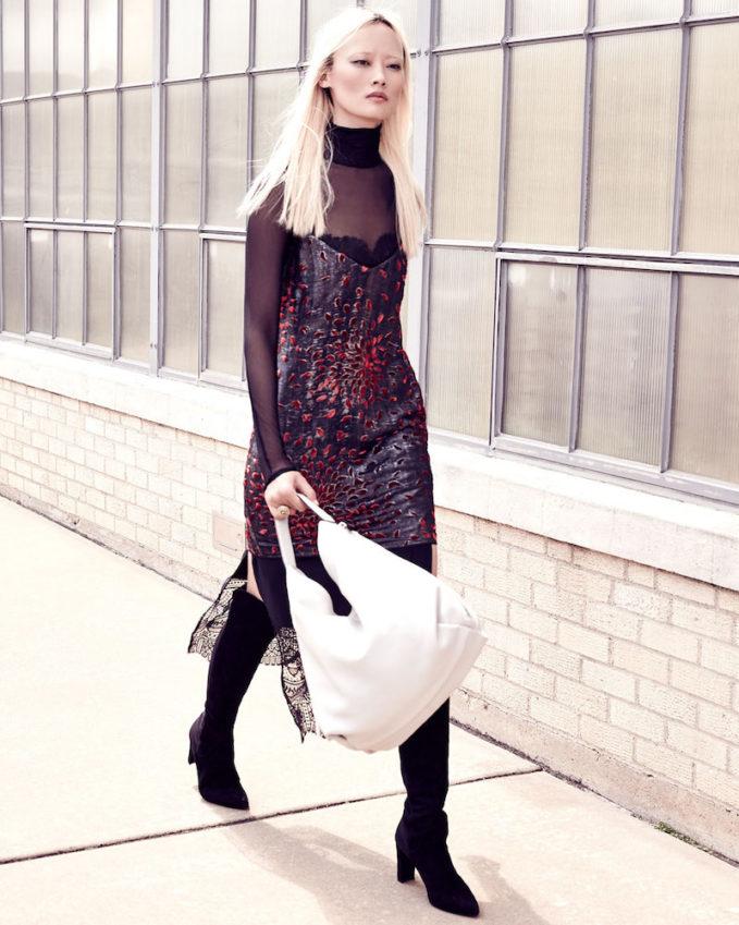 Cinq à Sept Maia Metallic Lace-Combo Camisole Dress