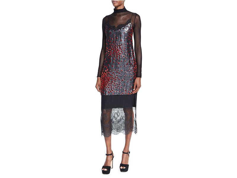 Cinq à Sept Maia Metallic Lace-Combo Camisole Dress_1