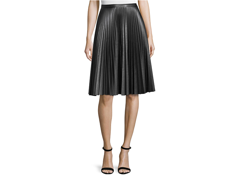 Cusp by Neiman Marcus Plissé Leather Skirt