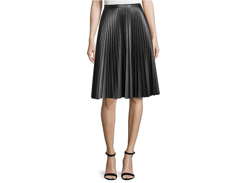 Cusp by Neiman Marcus Plissé Leather Skirt