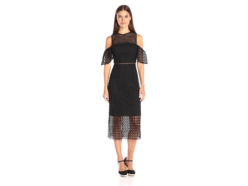 Cynthia Rowley Geo Lace Cold Shoulder Midi Dress