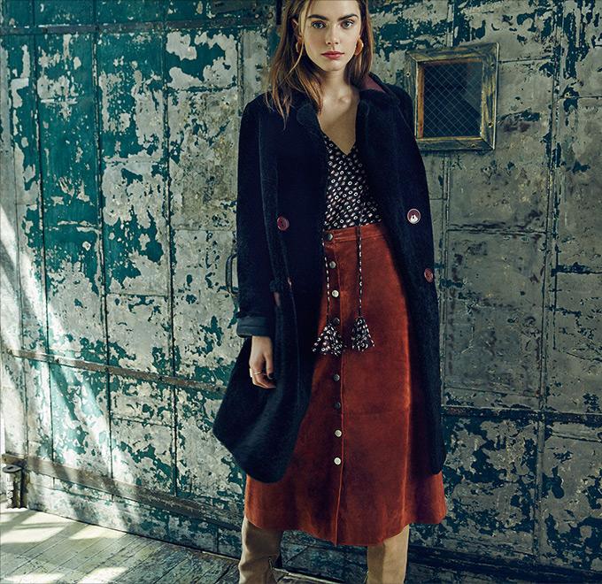 Diane von Furstenberg Gracelynn Suede Front Button Skirt