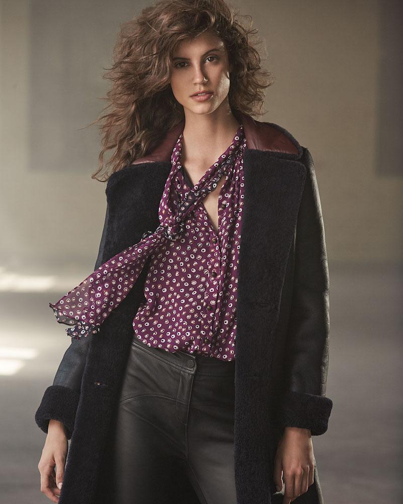 Diane von Furstenberg Grayson Reversible Mouton Fur & Leather Coat