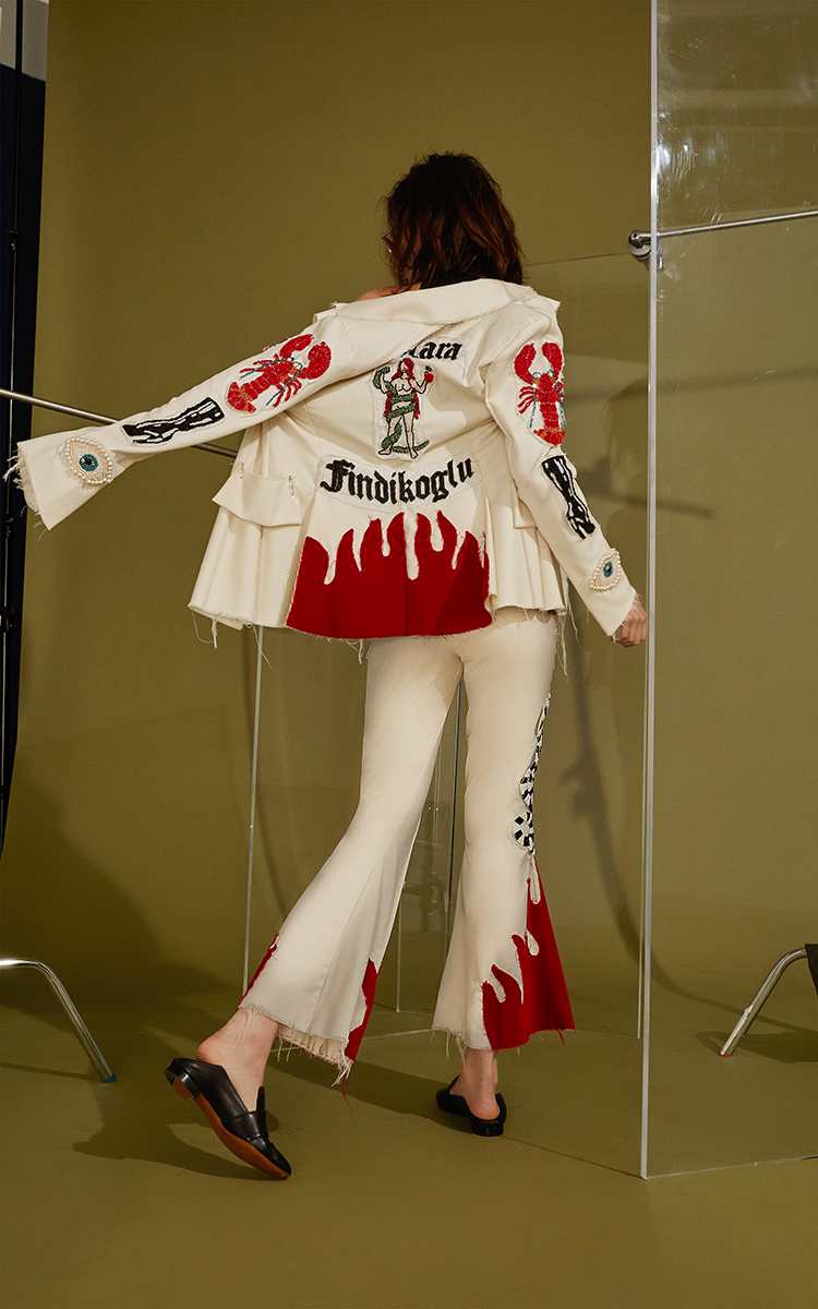 Dilara Findikoglu Cream Blazer With Beaded Patches