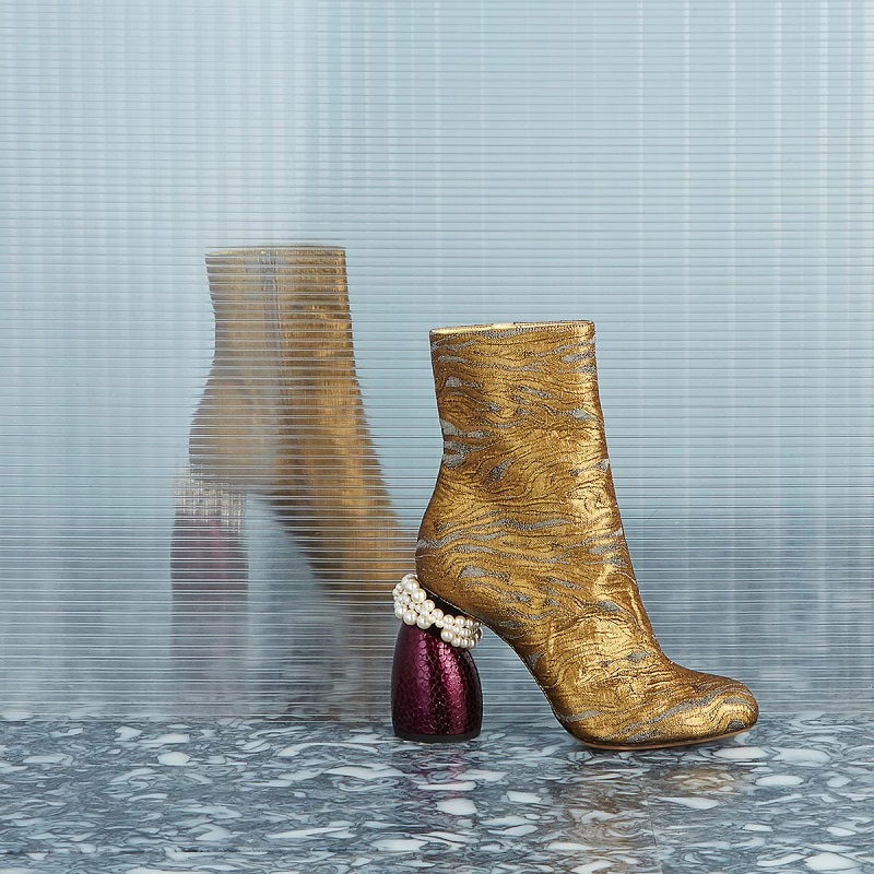 Dries Van Noten Metallic jacquard ankle boots