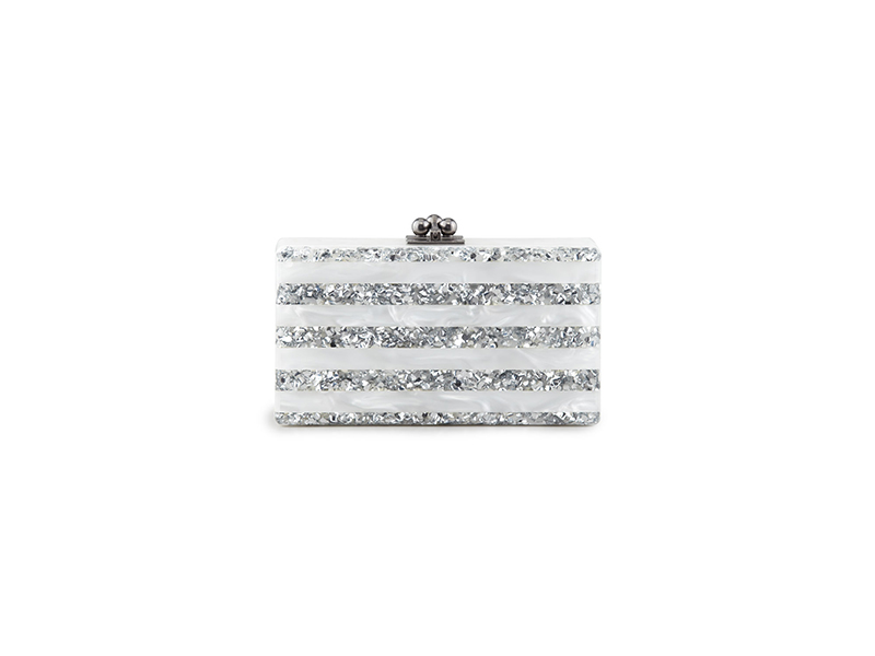 Edie Parker Jean Striped Acrylic Confetti Clutch Bag