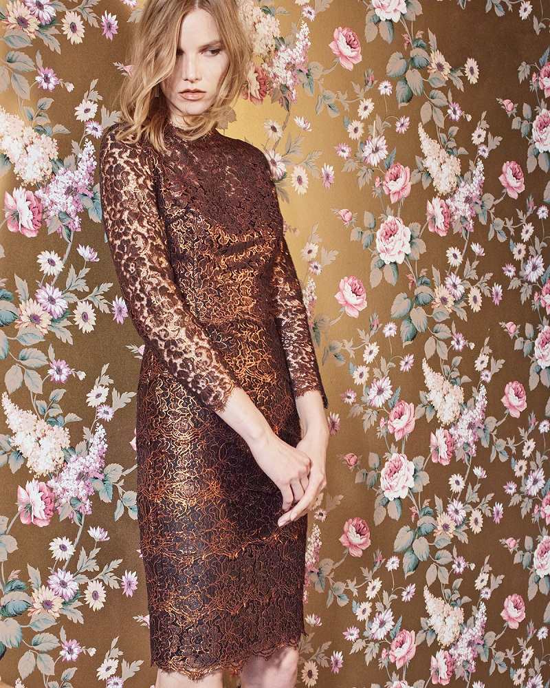 Escada Bracelet-Sleeve Tiered Lace Dress