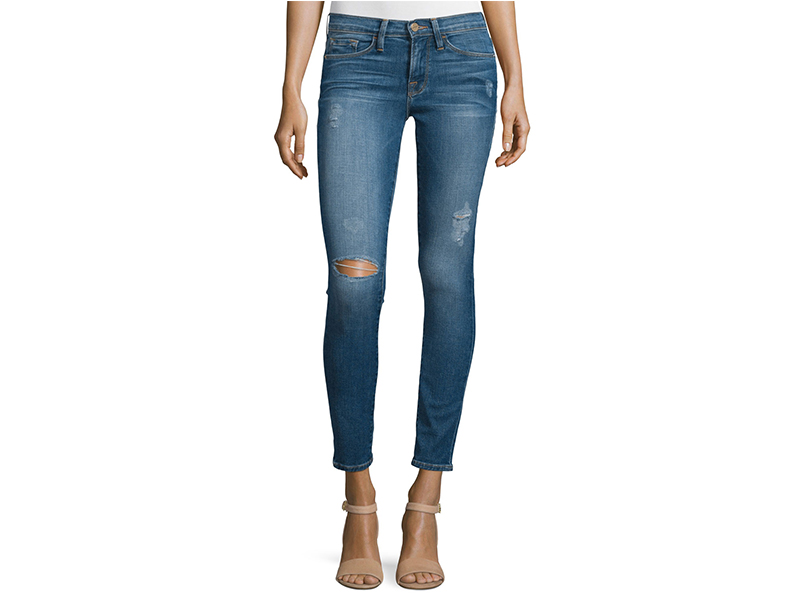 FRAME DENIM Le Skinny De Jeanne Distressed Ankle Jeans